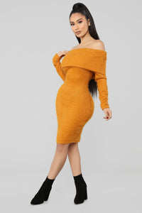 Bear Hugs Sweater Midi Dress - Mustard Angle 3