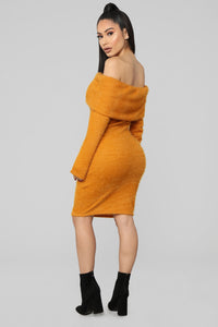 Bear Hugs Sweater Midi Dress - Mustard Angle 4