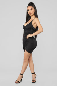 Shanghai Ruched Dress - Black Angle 3