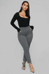 Send Me My Check Plaid Pants   Black/White by Fashion Nova