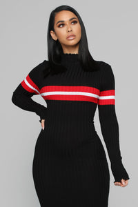 Feel My Love Sweater Midi Dress - Black