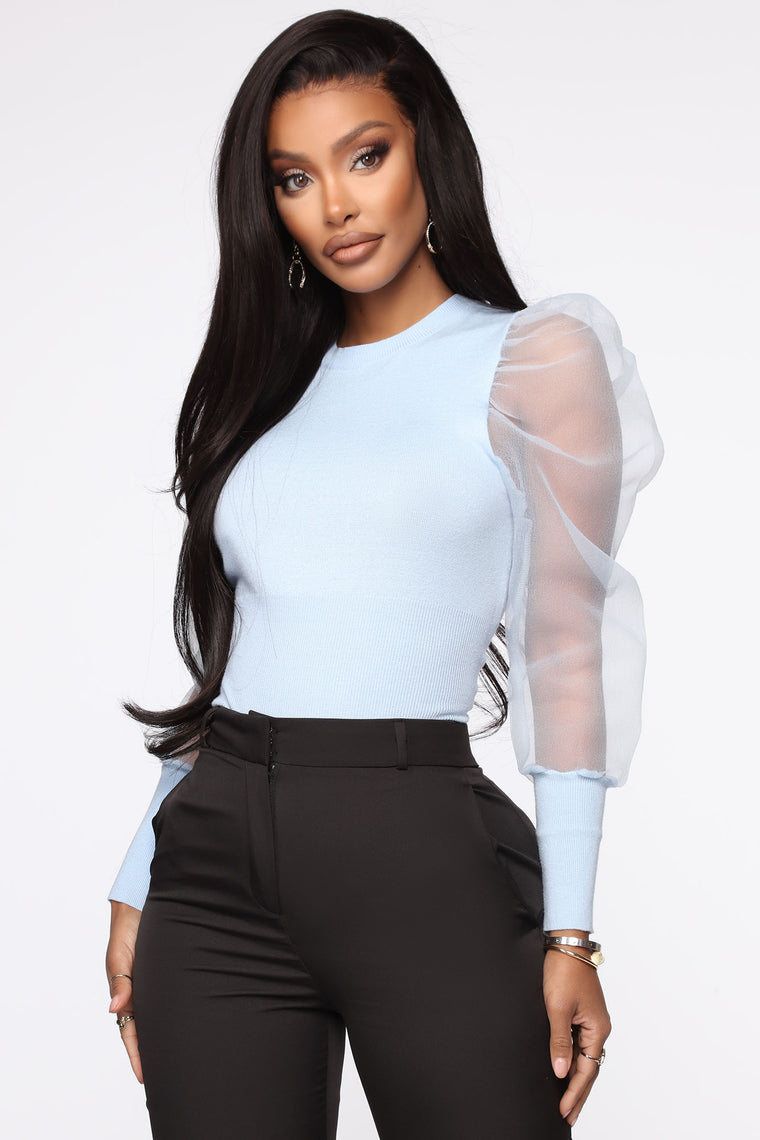 Let's Have A Party Puff Sleeve Sweater - Blue