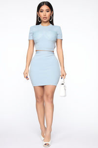Classy And Sassy Skirt Set - Blue Angle 1