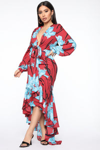 Magic In The Meadow Floral Maxi Dress - Rust/Combo Angle 3