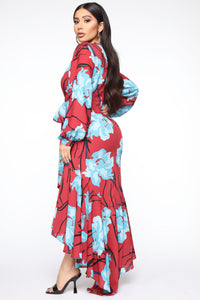 Magic In The Meadow Floral Maxi Dress - Rust/Combo Angle 4
