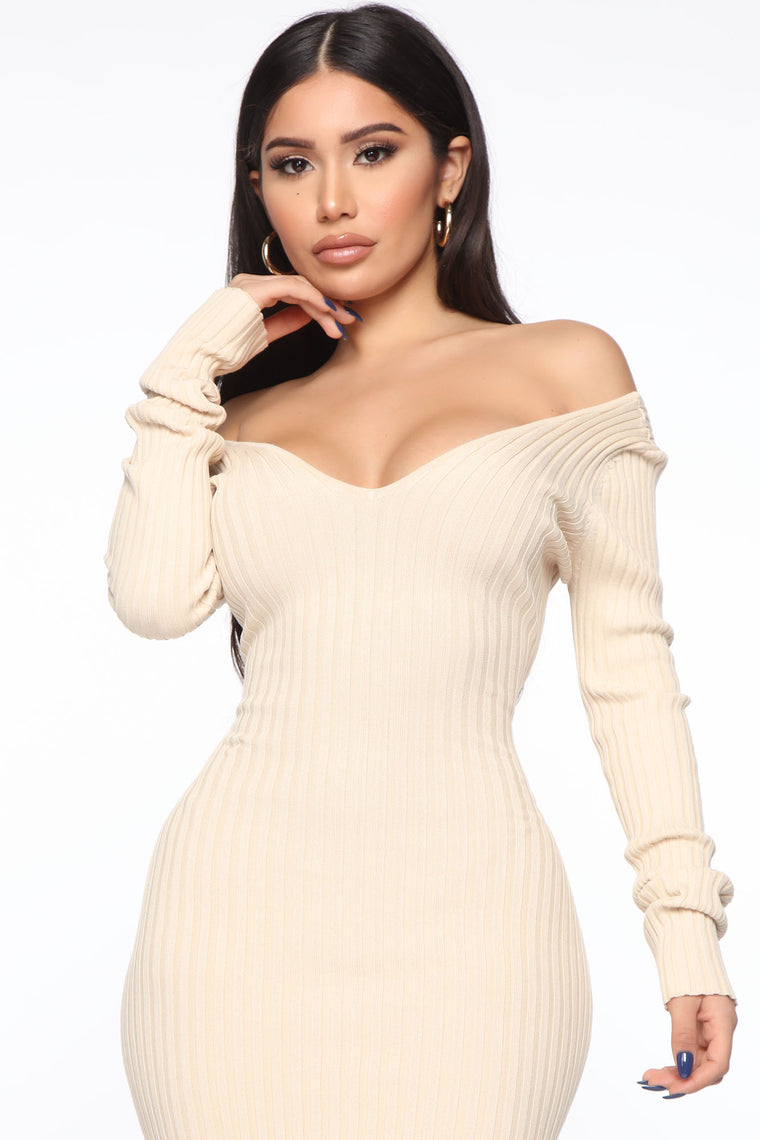 Ribbed And Ready Sweater Dress - Nude