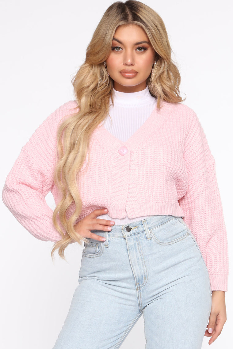 Style Me Up Cropped Cardigan   Pink by Fashion Nova