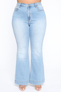 Push For It II Flare Jeans - Light Blue Wash Angle 2