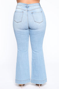 Push For It II Flare Jeans - Light Blue Wash Angle 4