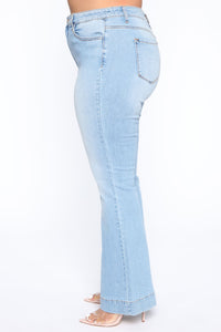 Push For It II Flare Jeans - Light Blue Wash Angle 6