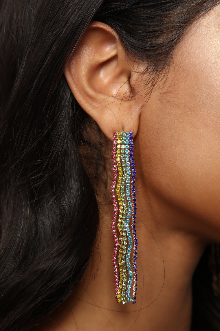 Rainbow Wave Earrings - Multi