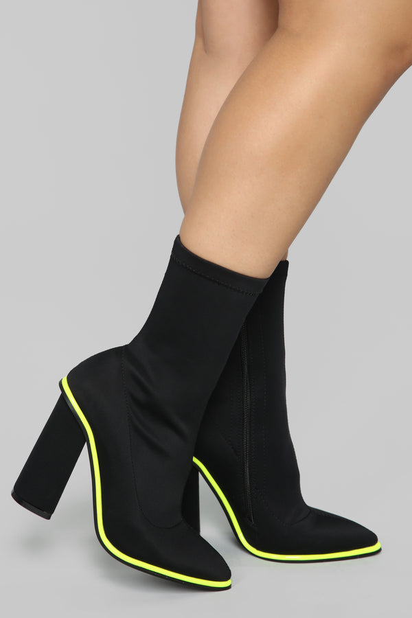 b6184182b99 With Attitude Booties - Black Neon Green