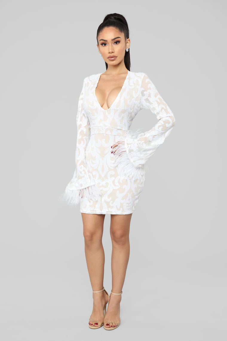Feather Me Up Sequin Mini Dress - White