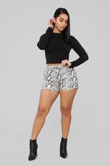 Time To Strike Snake Print Shorts   Grey by Fashion Nova