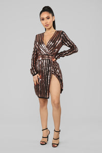 The Night Call Mini Dress - Rose Gold