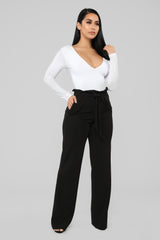 Amber Wide Leg Crepe Pant   Black by Fashion Nova
