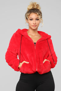 Keep It Real Cozy Fur Jacket - Red