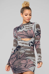 Bring Me with You Tropical Mini Dress - Mauve