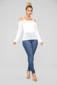 Rina Cold Shoulder Sweater - White