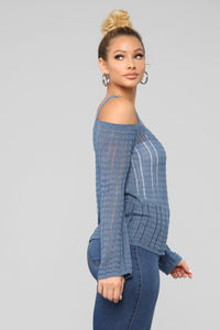 Rina Cold Shoulder Sweater - Dusty Blue