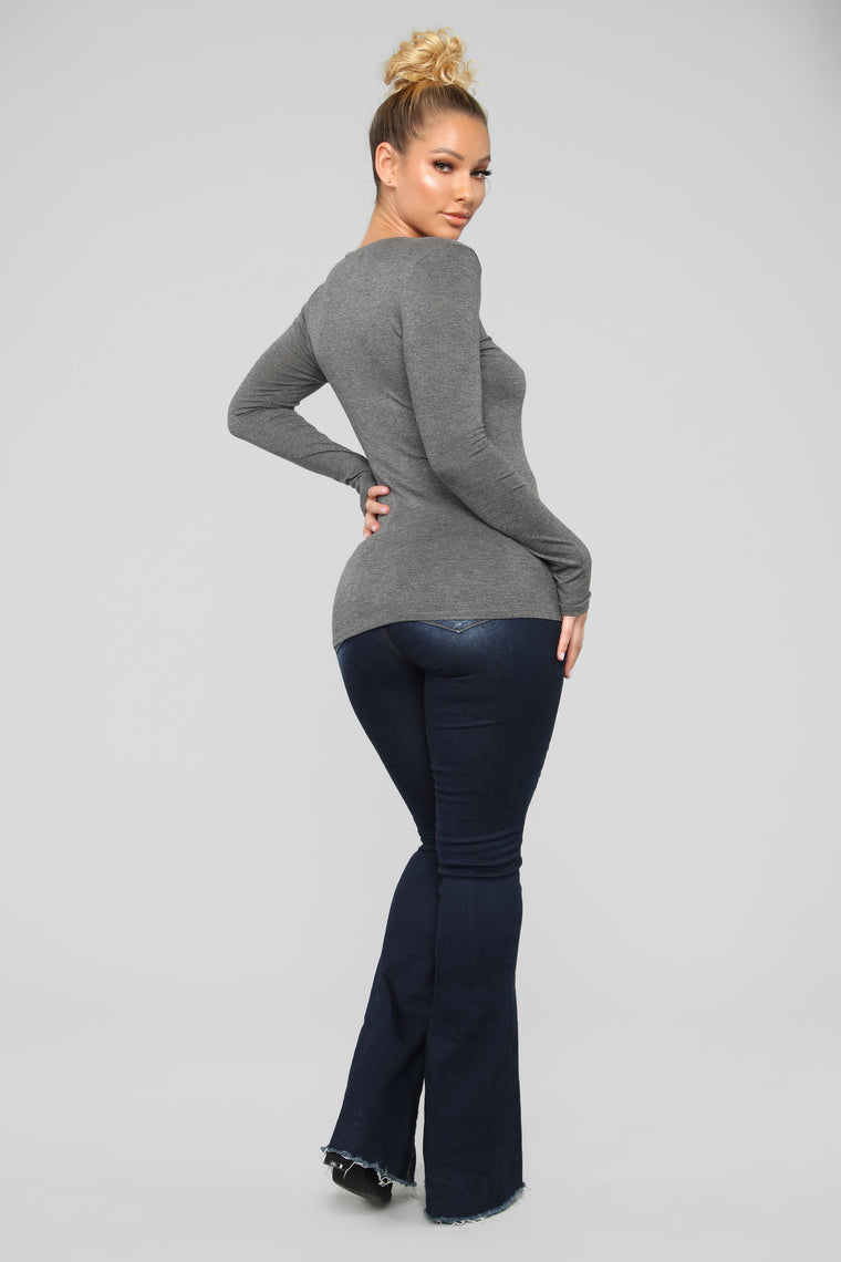 Krystal Crew Neck Long Sleeve Top - Charcoal