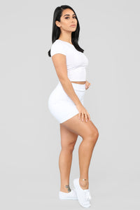 Melanie Mini Skirt - White Angle 4