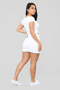 Melanie Mini Skirt - White Angle 6
