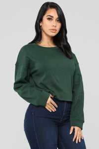 Jasmine Raw Hem Sweatshirt - Hunter