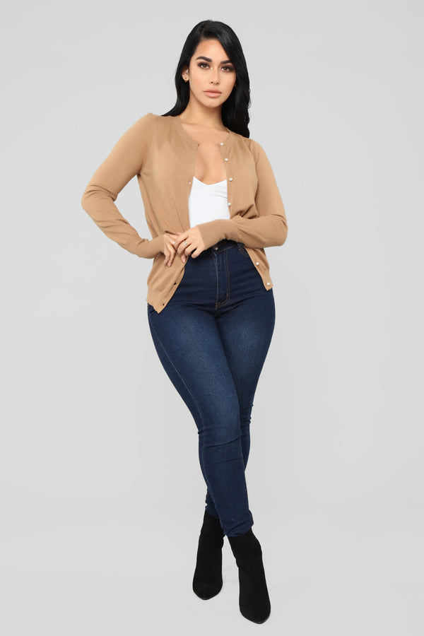 269c77ab162 Pearl Button Down Sweater - Camel