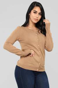 Pearl Button Down Sweater - Camel