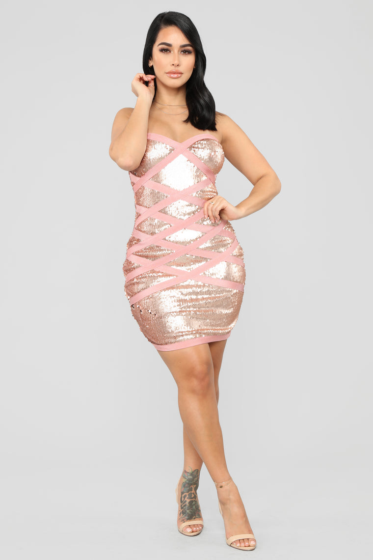 Get This Party Started Sequin Dress - Pink