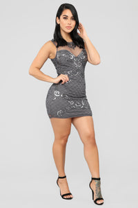 Cocktail Hour Beaded Dress - Grey