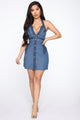 Up On The Panel Mini Dress - Blue/combo