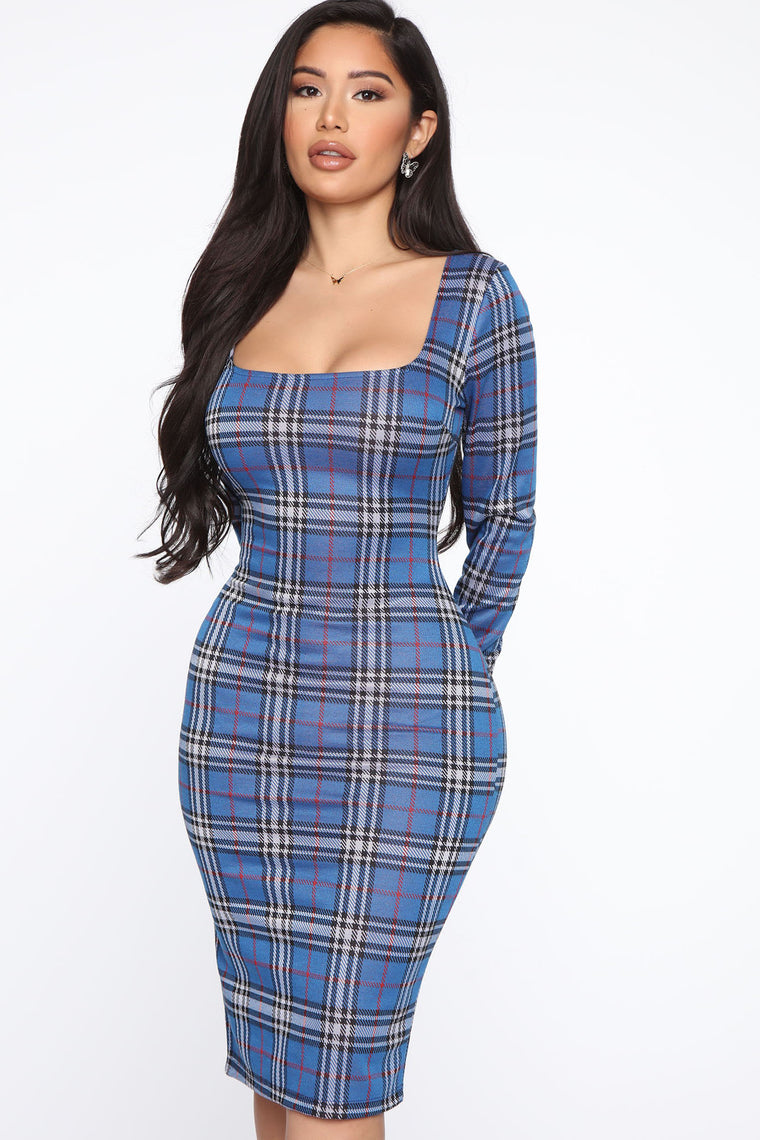 My Business Plaid Dress - Royal
