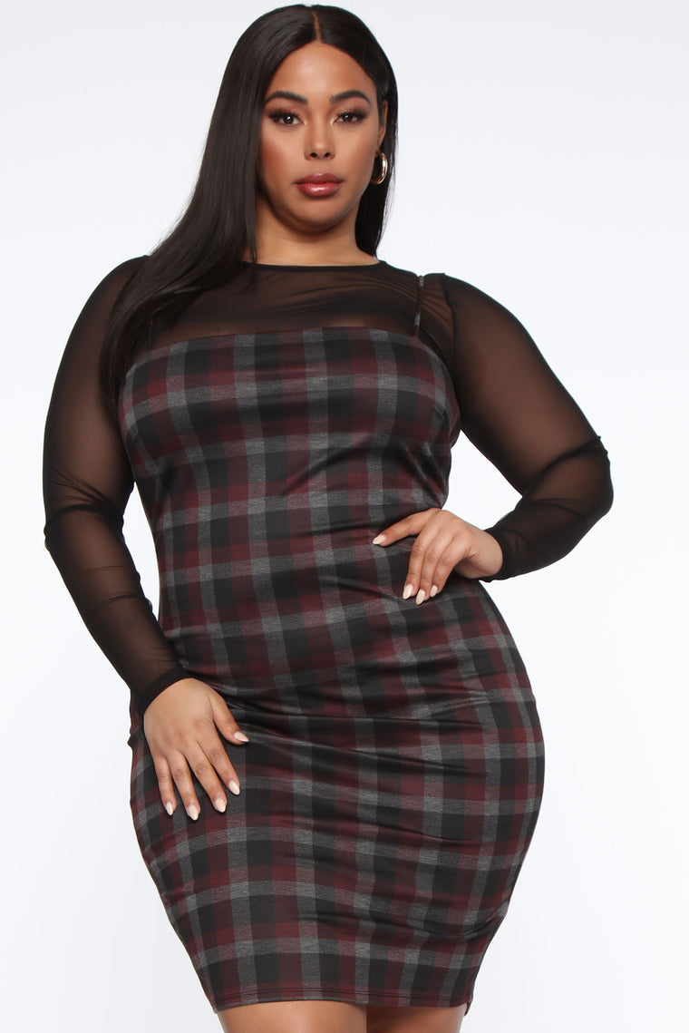 My Forever Love Plaid 2 Piece Dress - Black/combo