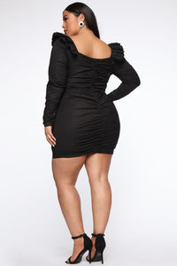 The Usual Please Ruched Mini Dress - Black