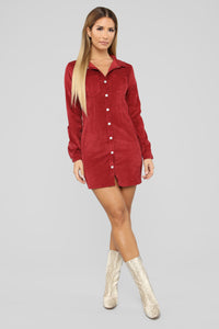 Natural Feels Corduroy Shirt Dress - Burgundy Angle 2