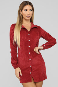 Natural Feels Corduroy Shirt Dress - Burgundy Angle 1