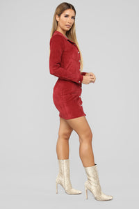 Natural Feels Corduroy Shirt Dress - Burgundy Angle 3