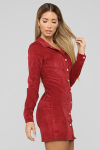 Natural Feels Corduroy Shirt Dress - Burgundy Angle 4