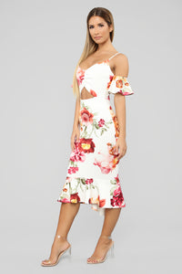 Dreamy Thoughts Floral Midi Dress - Ivory/Multi