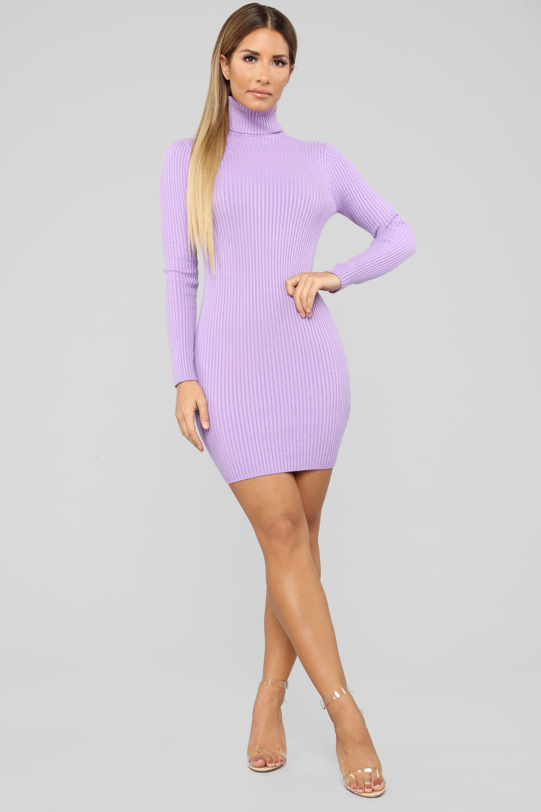 My Favorite Sweater Dress Lavender