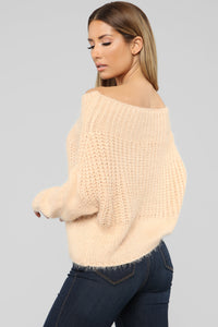 Victoria Off Shoulder Sweater - Taupe
