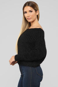 Victoria Off Shoulder Sweater - Black Angle 3