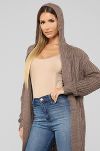 Winter Vacation Cardigan - Mocha Angle 2