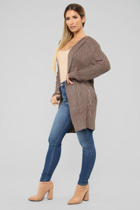 Winter Vacation Cardigan - Mocha Angle 3