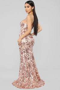 Very Popular Sequin Maxi Dress - Rose Gold
