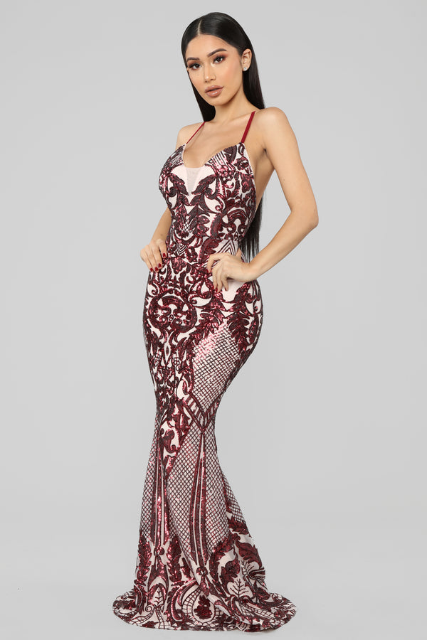 c9b8cb558b3 Ginger Spice Sequin Maxi Dress - Burgundy