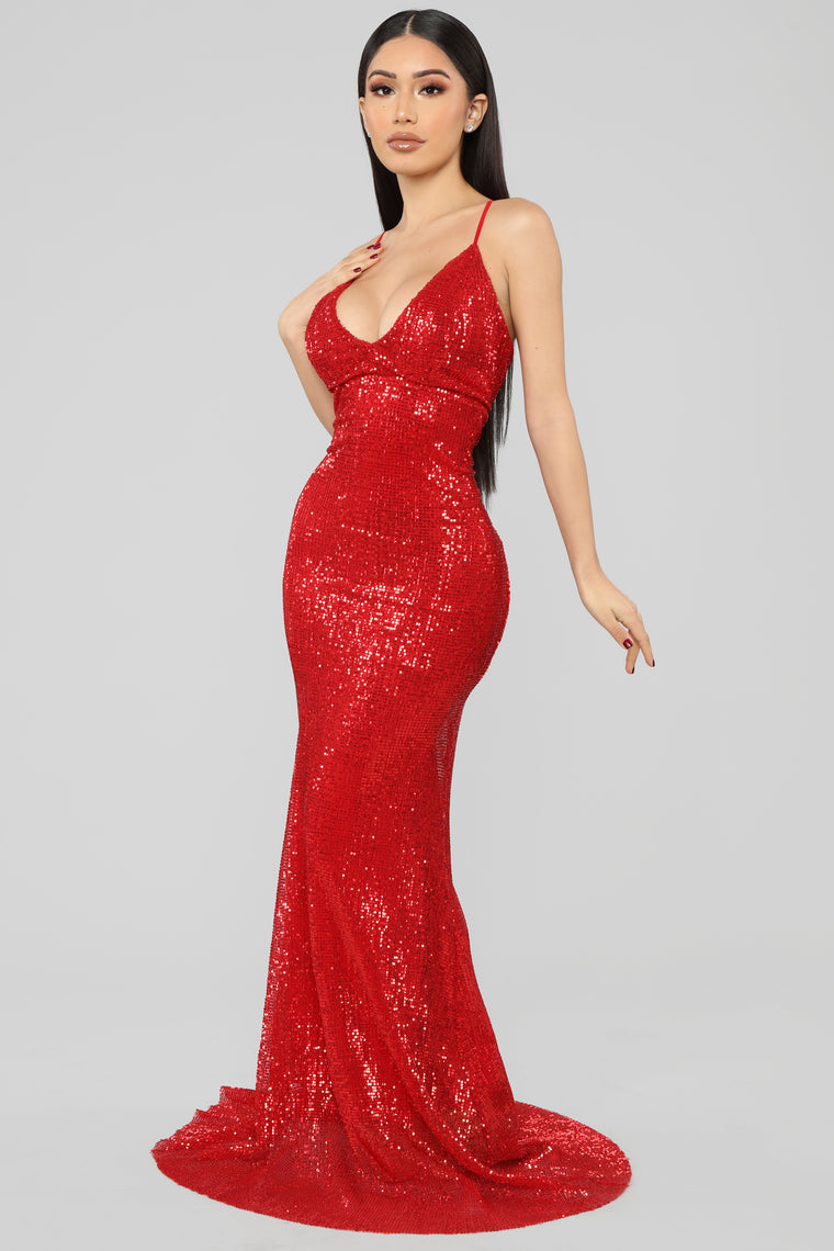Are You Feeling Me Sequin Gown - Red