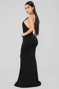 All Dressed Up Rhinestone Gown - Black
